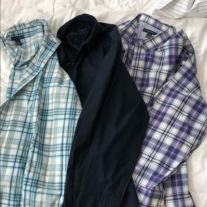 3 men's long sleeve button down